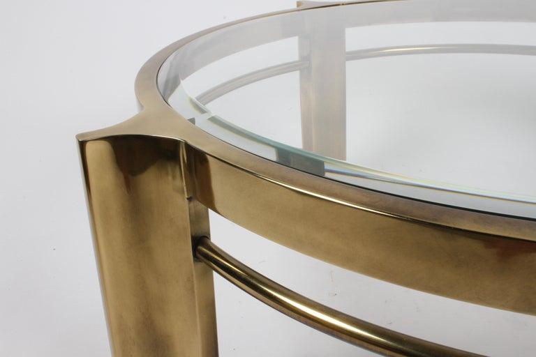 Beautiful Mastercraft Round Brass & Glass Coffee Table, Hollywood Regency 1