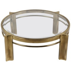 Beautiful Mastercraft Round Brass & Glass Coffee Table, Hollywood Regency