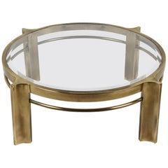 Beautiful Mastercraft Round Brass & Glass Coffee Table, Hollywood Regency