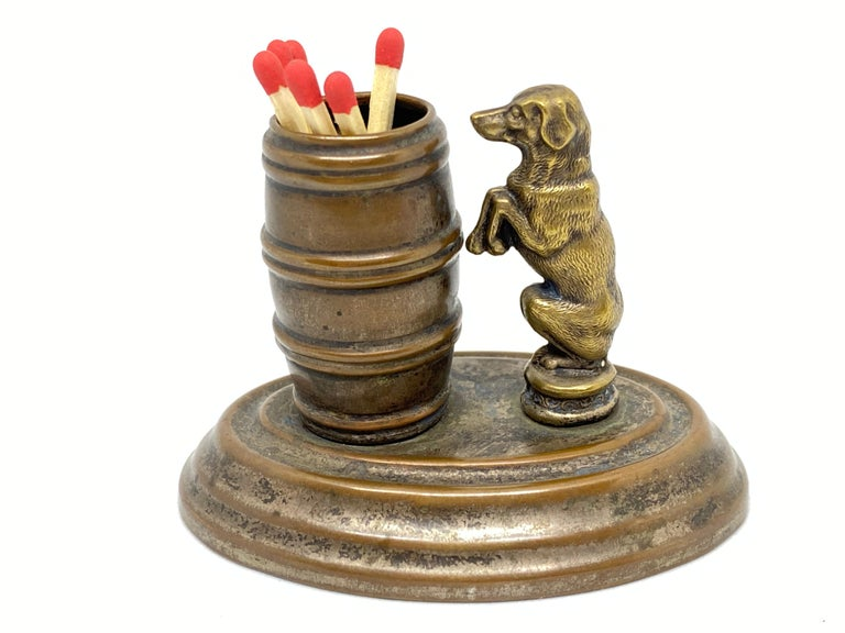 A beautiful figural matchstick holder, circa 1890s, European. Nice addition to every table or just for your collection. Tarnished and a nice patina, but this is old-age and gives this pieces a classy statement.