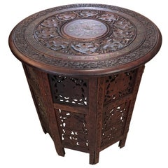 Beautiful Medium Sized Round Moorish Anglo-Indian End Table