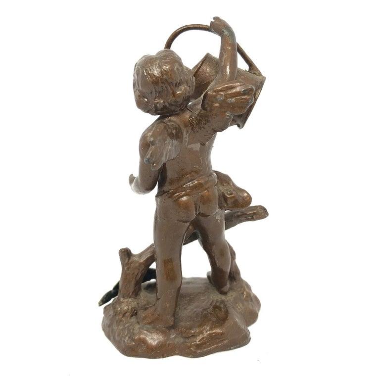 Victorian Beautiful Metal Cherub Angel Lucky Charm Figurine Antique Austria, 1900s For Sale