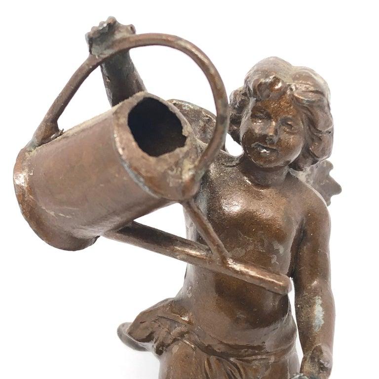 Early 20th Century Beautiful Metal Cherub Angel Lucky Charm Figurine Antique Austria, 1900s For Sale