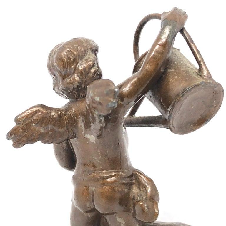 Beautiful Metal Cherub Angel Lucky Charm Figurine Antique Austria, 1900s For Sale 2