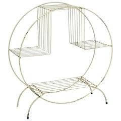 Beautiful Midcentury Art Deco Metal Floor Shelf or Side Table in White