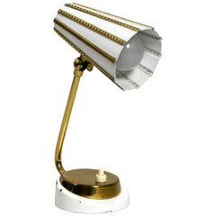 Beautiful Midcentury Brass Table Bedside Lamp with Perforated Metal Shade