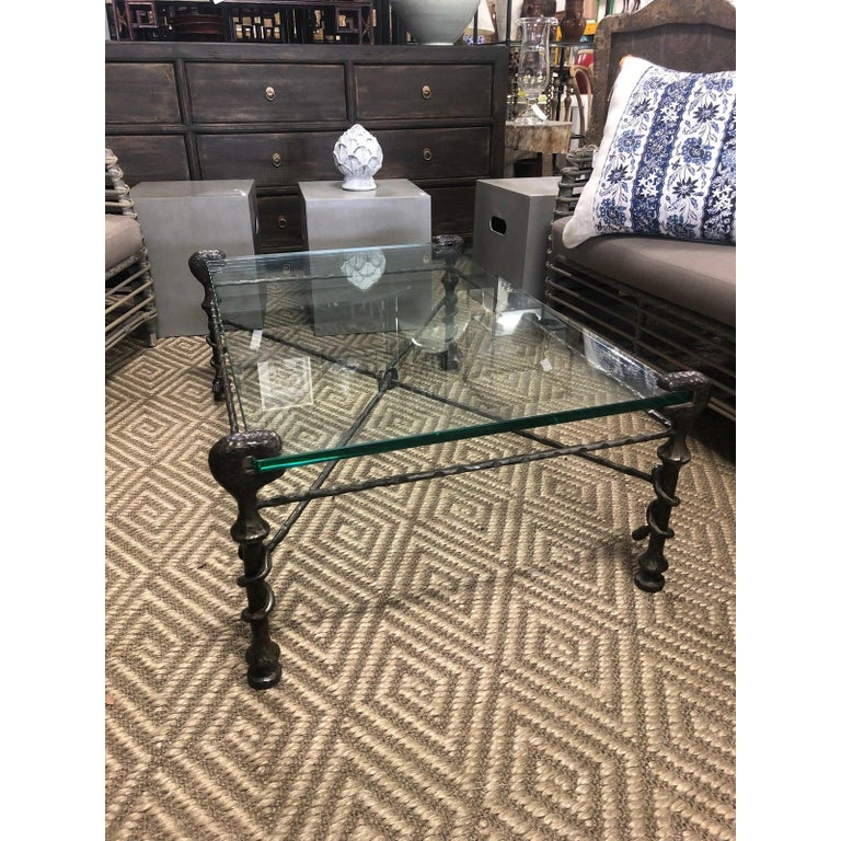 Beautiful Mid-Century Modern Giacometti Style Glass Top Coffee Table In Excellent Condition For Sale In West Palm Beach, FL