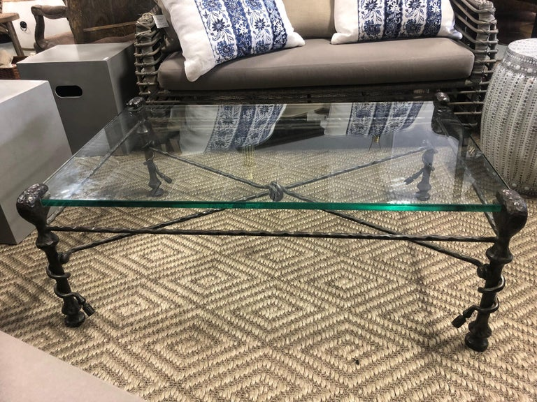 Late 20th Century Beautiful Mid-Century Modern Giacometti Style Glass Top Coffee Table For Sale