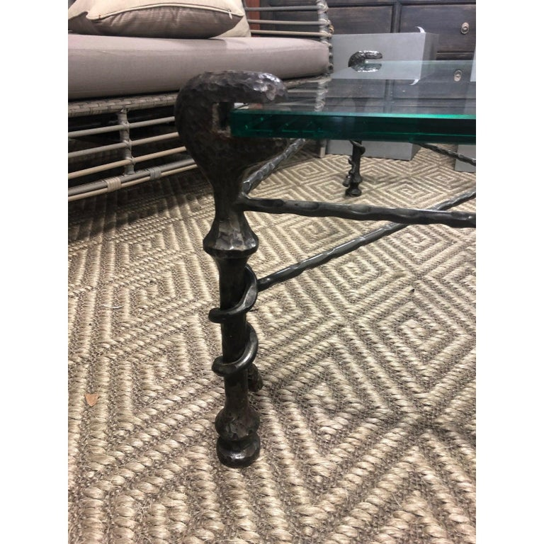 Beautiful Mid-Century Modern Giacometti Style Glass Top Coffee Table For Sale 1