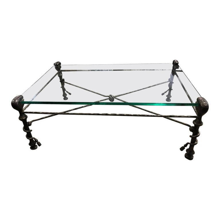 Beautiful Mid-Century Modern Giacometti Style Glass Top Coffee Table For Sale