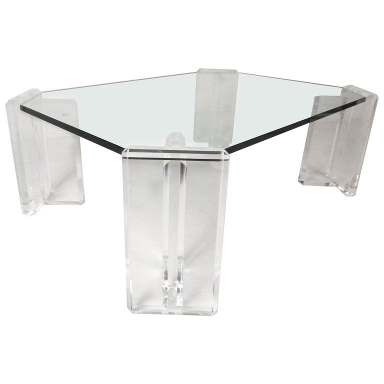 Lucite Coffee Table.Beautiful Mid Century Modern Glass And Lucite Coffee Table