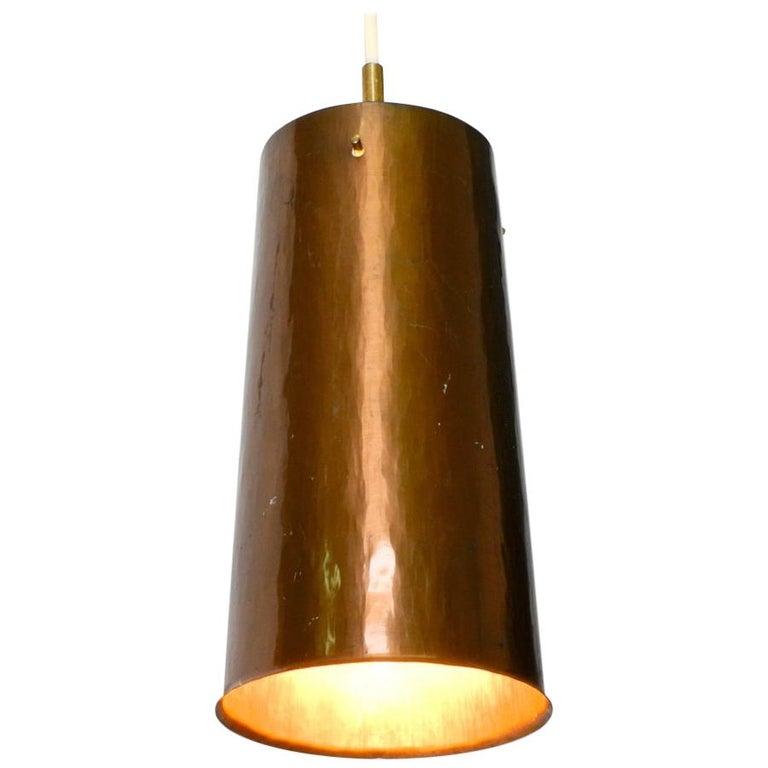 Beautiful Mid Century Modern Pendant Lamp Made Of Copper Shaped Like