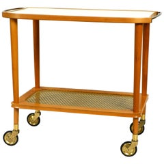 Beautiful Mid-Century Modern Serving Trolley Made of Walnut Wood and Brass