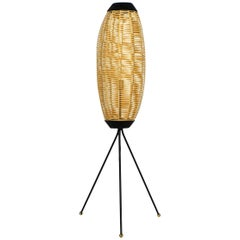 Beautiful Mid-Century Modern Tripod Floor Lamp with Plastic Basket Shade