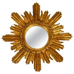Beautiful Midcentury Sunburst Wall Mirror Made of Wood in Golden Color