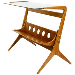 Beautiful Mid Century Table and Magazine Rack Made of Ash Wood and Wired Glass