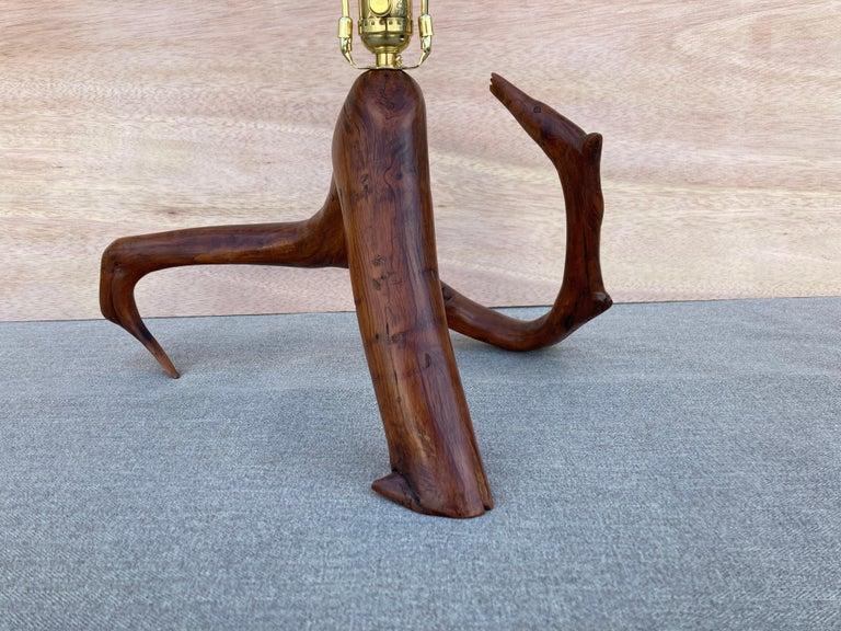 Beautiful Mid Century Table Lamp, Tree, Redwood For Sale 5