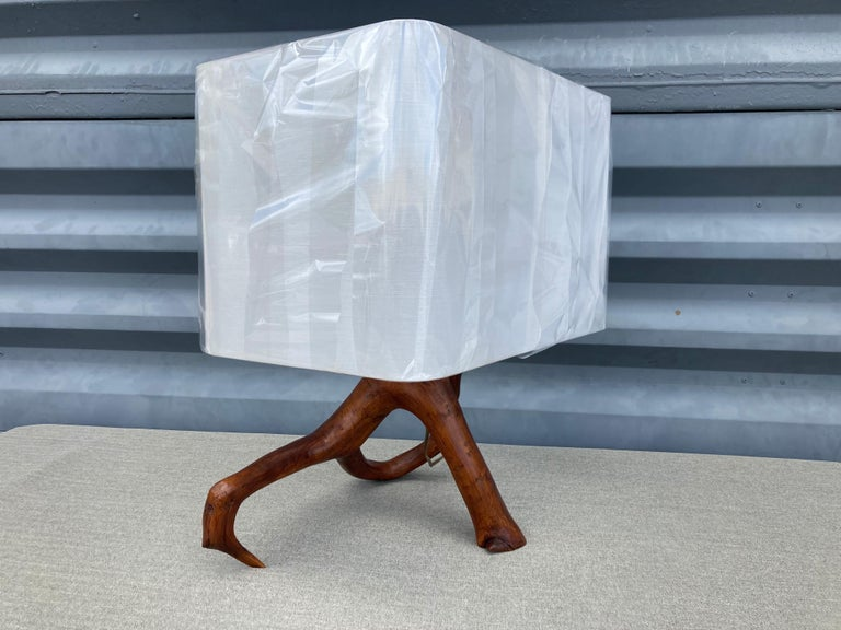 American Beautiful Mid Century Table Lamp, Tree, Redwood For Sale