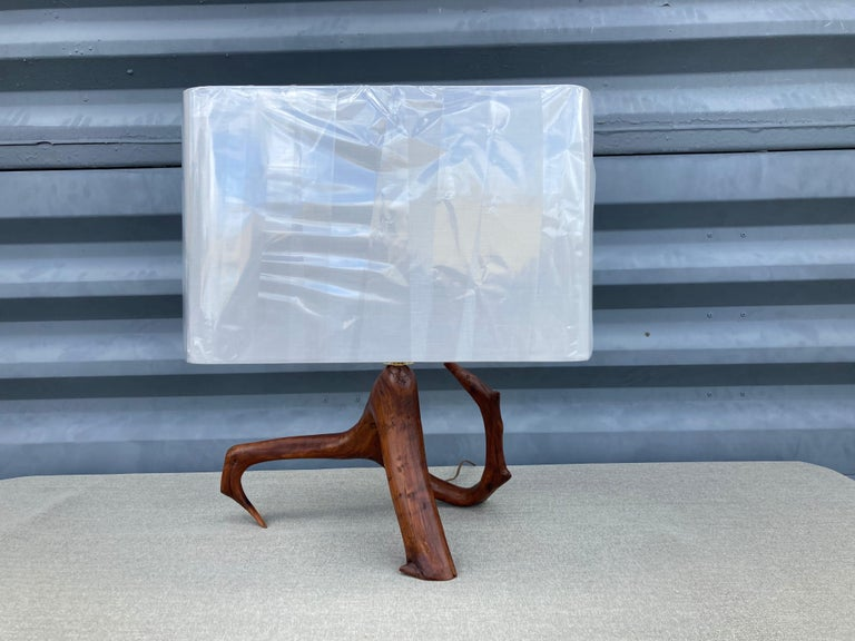 Late 20th Century Beautiful Mid Century Table Lamp, Tree, Redwood For Sale