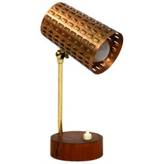 Beautiful Midcentury Table Lamp with Perforated Copper Shade and Teak Wood Base