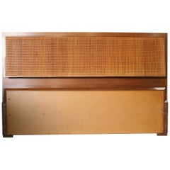 Beautiful Midcentury Cane Brass headboard by Paul Mccobb for Calvin Queen