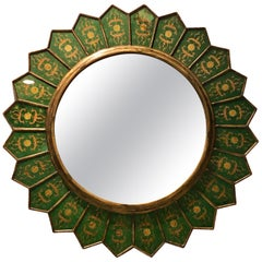 Beautiful Midcentury églomisé Round Sunburst Mirror