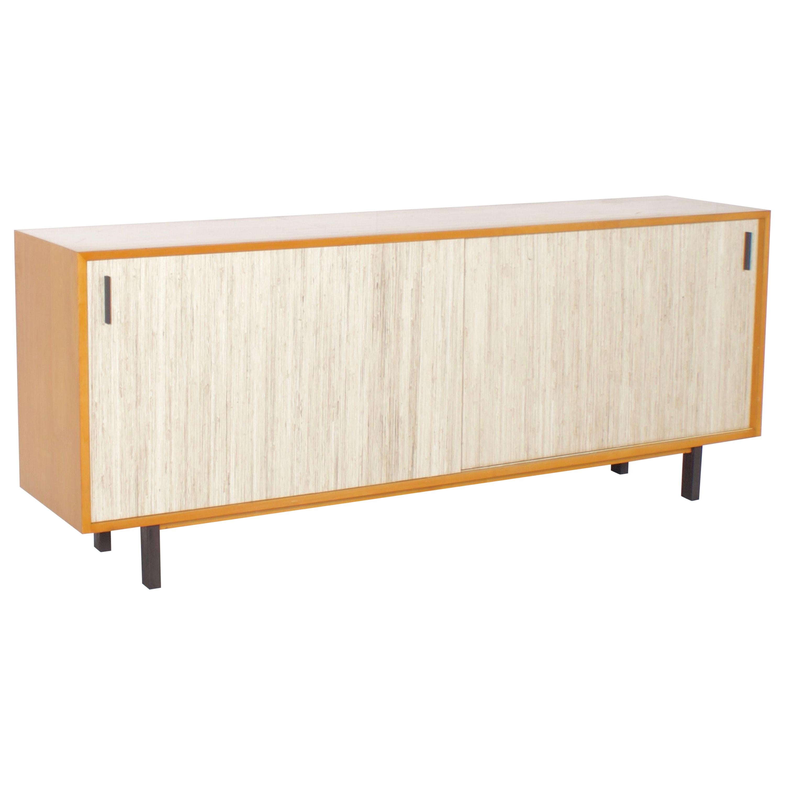 Beautiful Midcentury Maple and Cane Sideboard with Sliding Doors, Italy, 1960s
