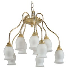 Beautiful Midcentury Mount Chandelier with Opaline Glass Shades