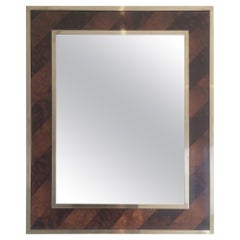 Beautiful Mirror Made of a Burr Walnut Marquetry and Brass, circa 1960