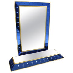 Beautiful Mirror with Small Console Produced by Cristal Art, Italy, 1950