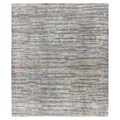 Beautiful Modern Distressed Rug in Multi Shades of Gray, Purple, Blue and Yellow