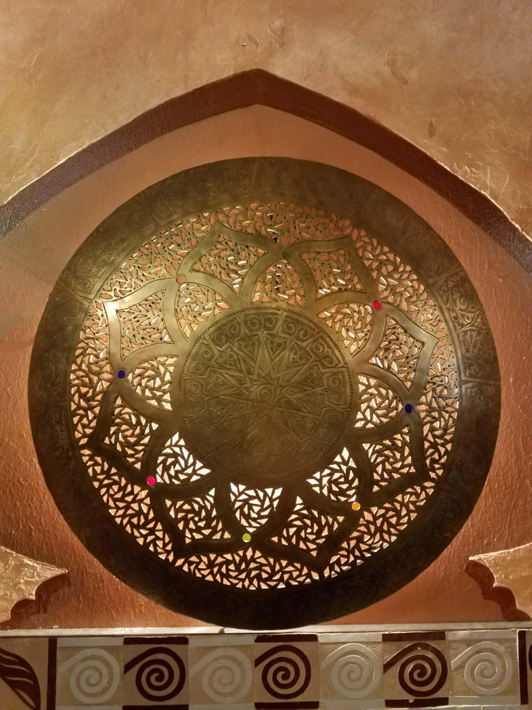 Made from pure copper, this is truly the most stunning Moroccan wall sconce we have ever carried in stock. Show-stopper anywhere in your home / garden / spa / restaurant. Copper design and patterns through. Handmade using ancient artisan methods