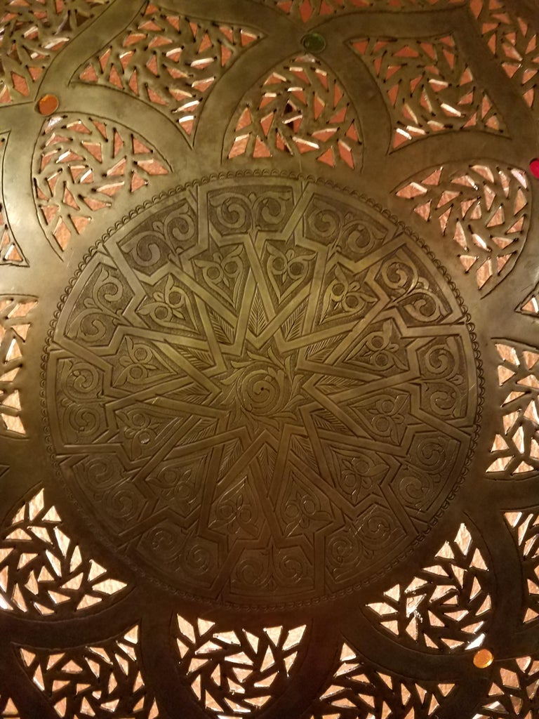 Hammered Beautiful Moroccan Copper Wall Sconce, Circular For Sale