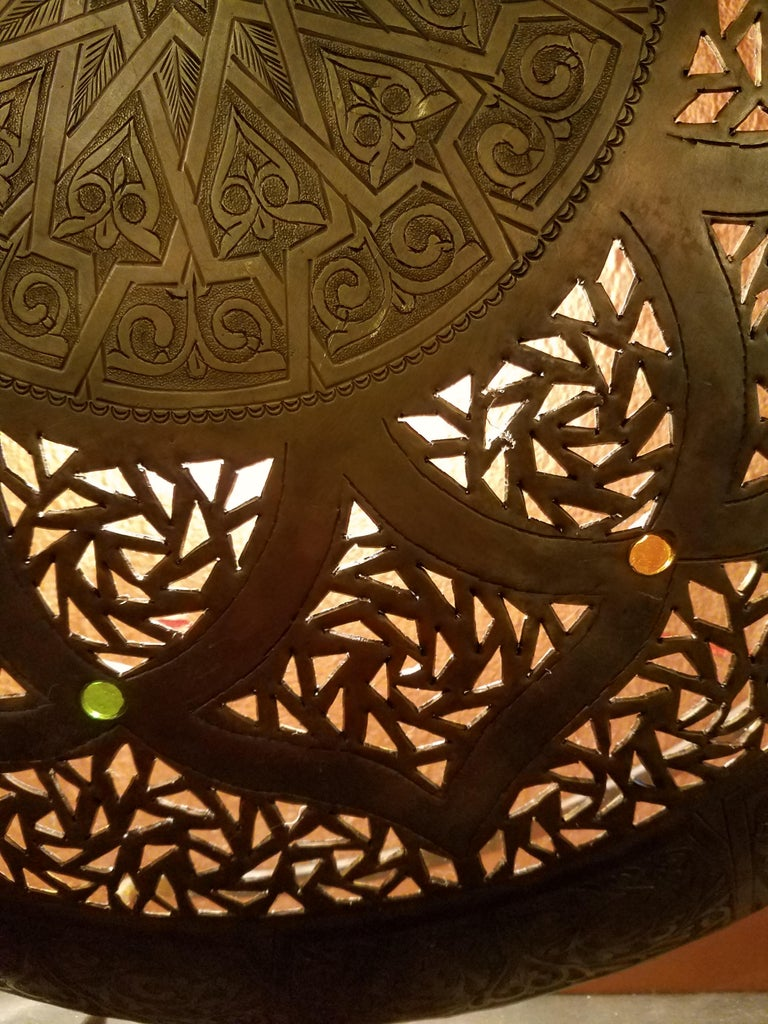 Beautiful Moroccan Copper Wall Sconce, Circular In Excellent Condition For Sale In Orlando, FL