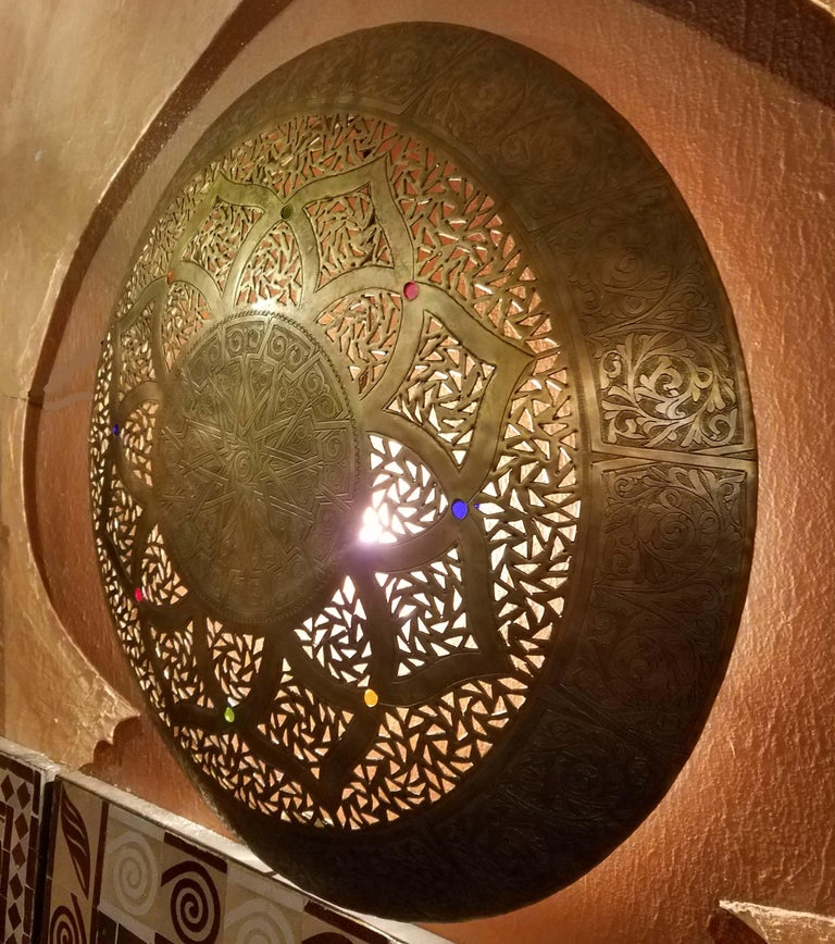 Contemporary Beautiful Moroccan Copper Wall Sconce, Circular For Sale