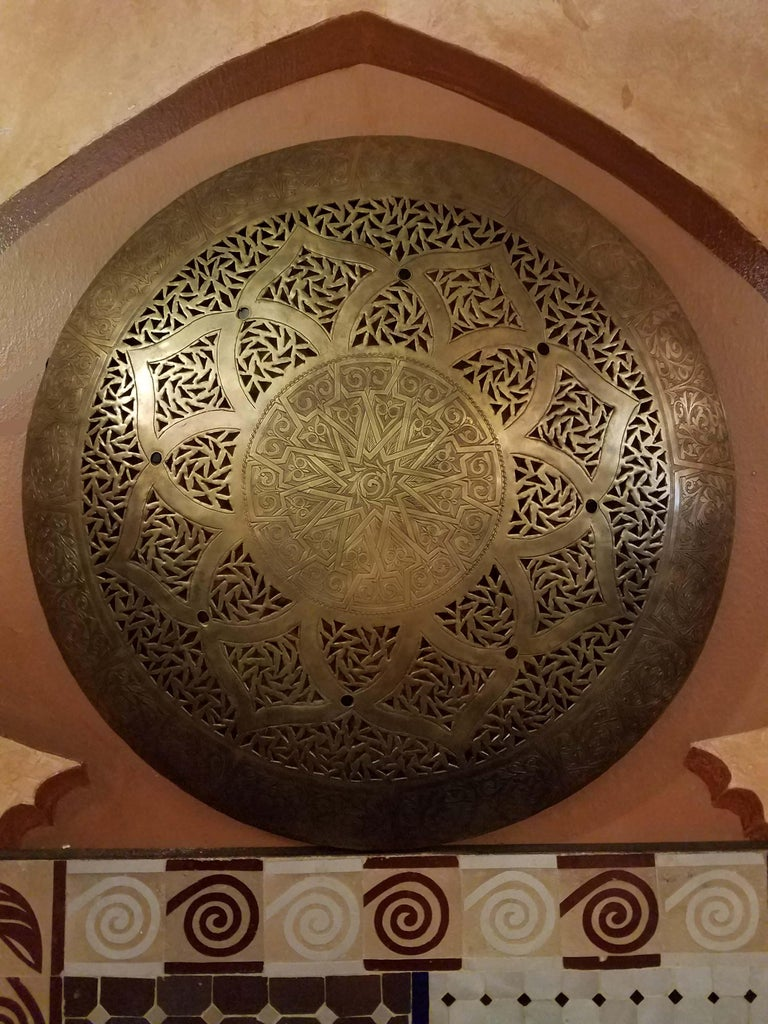 Beautiful Moroccan Copper Wall Sconce, Circular For Sale 1