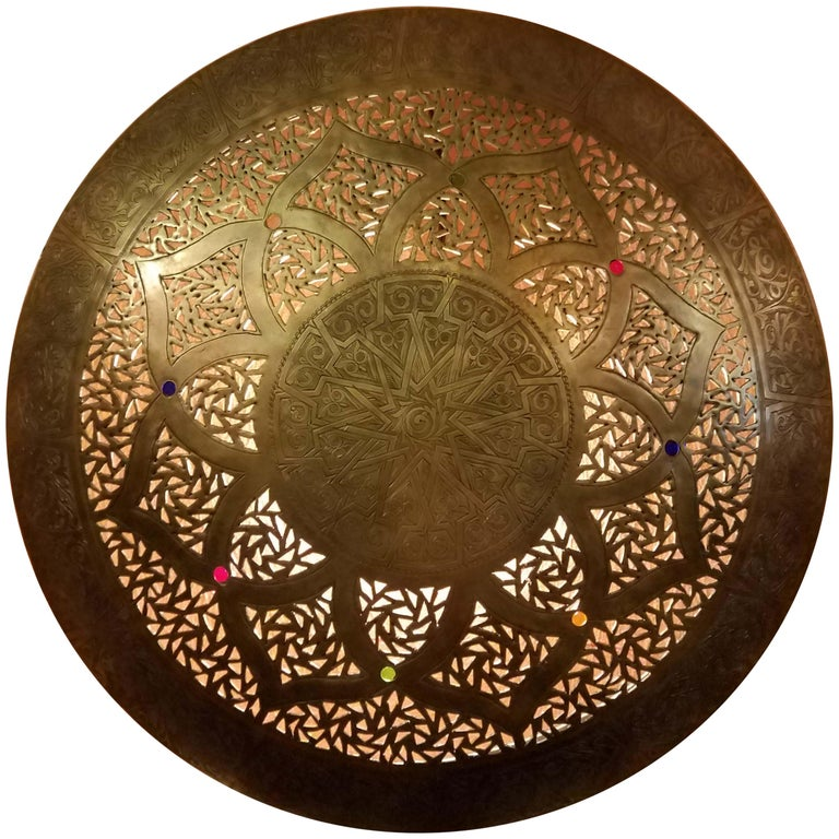 Beautiful Moroccan Copper Wall Sconce, Circular For Sale