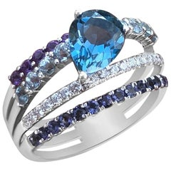 Beautiful Multi-Color Diamond Topaz Amethyst White Gold 3-Stone Ring for Her
