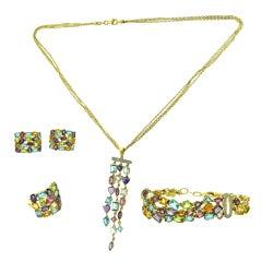 Beautiful Multi-Color Gemstone Four-Piece Set, Necklace, Bracelet, Ring