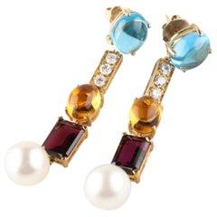 Beautiful Multicolored Gemstone, Diamond, and Pearl Drop Earrings in Yellow Gold