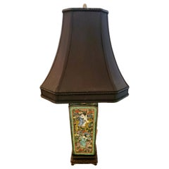 Beautiful Multi Colored Meticulously Detailed Figural Asian Table Lamp