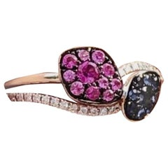 Beautiful Multicolor Pink Blue Sapphire Diamond White Gold 14 Karat Ring for Her