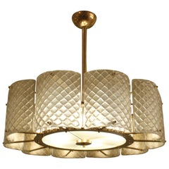 Beautiful Murano Frosted Glass and Brass Round Chandelier, Italy, 2020