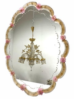 Beautiful Murano Glass Wall Mirror Pink Flowers and Gold Flakes Glass, Italy