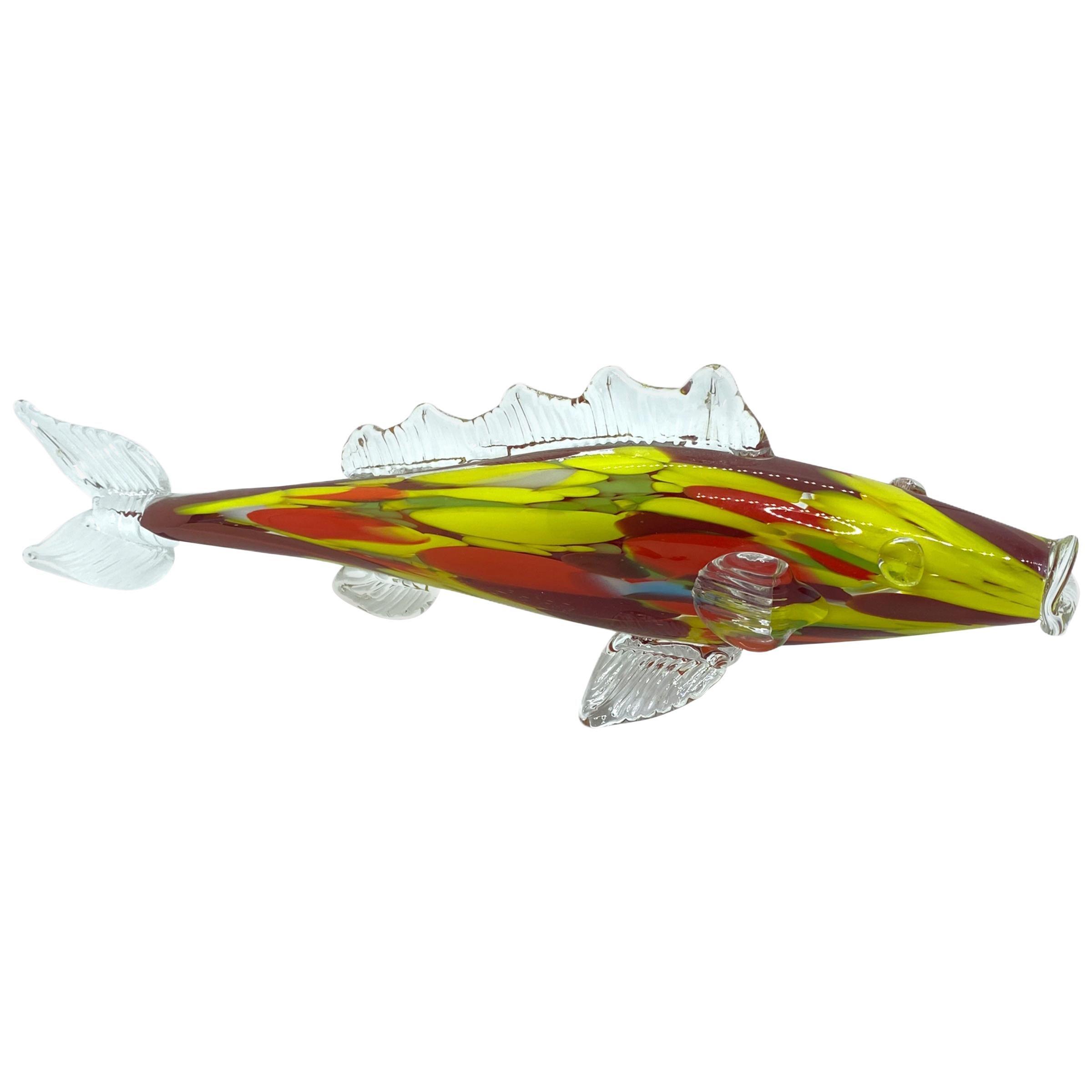 Beautiful Murano Italian Art Glass Trout Fish Sculpture, Italy, 1960s