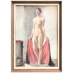 Beautiful Oil on Canvas of a Naked Standing Lady by Knud Appel