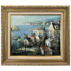 Beautiful Oil on Canvas of Port Landscape by Lucien Delarue