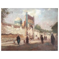 Beautiful Oil on Canvas Representing Samarkand in Uzbekistan