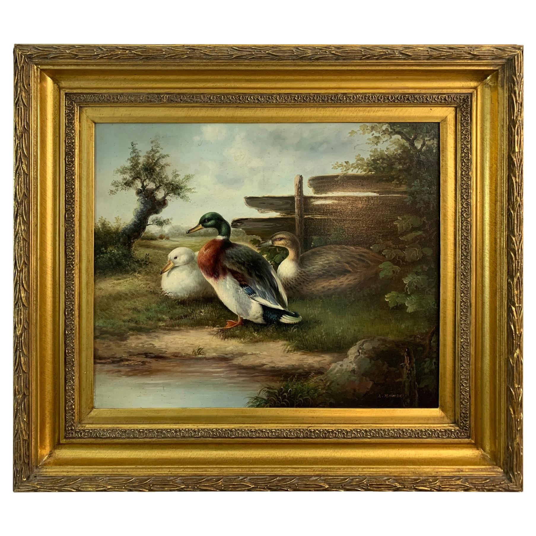 Beautiful Oil Painting of Ducks in Bucolic Landscape