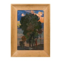 Beautiful Oil Painting of Figure and Tree